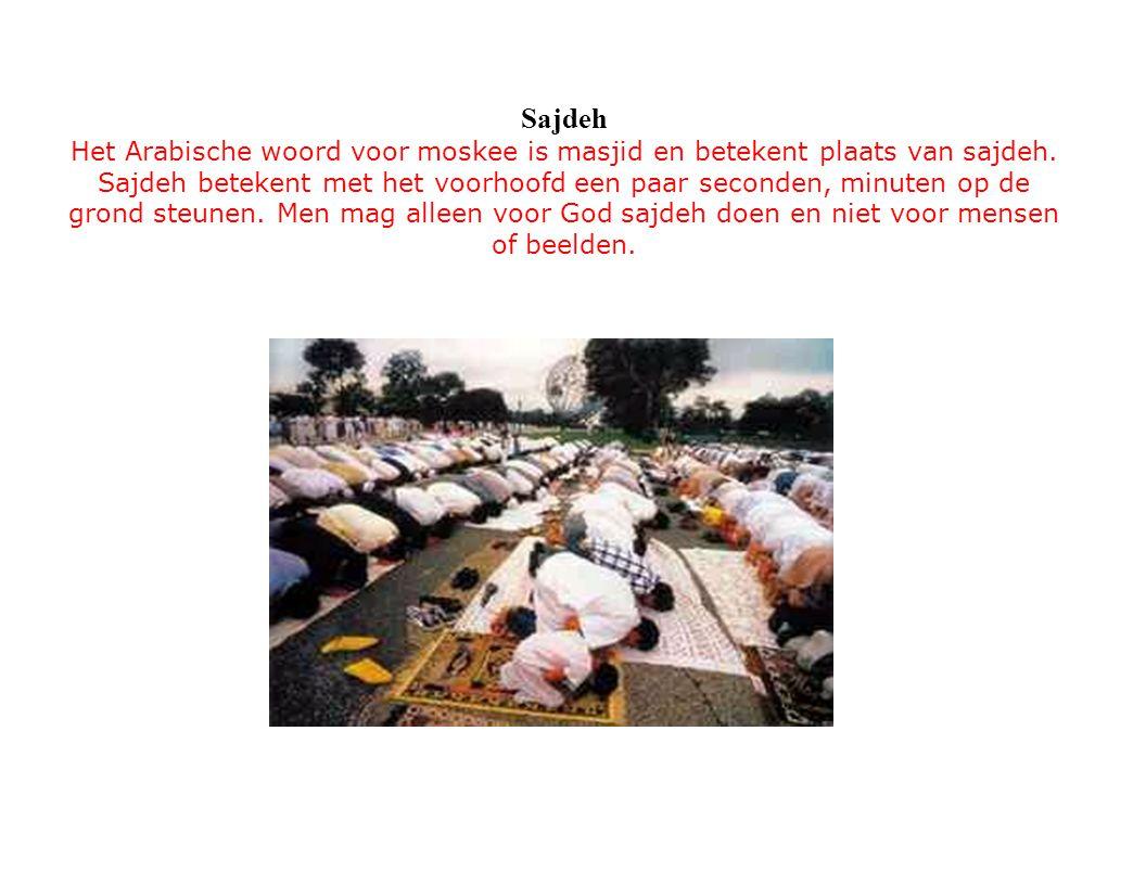 Sajdeh Het Arabische woord voor moskee is masjid en betekent plaats van sajdeh. Sajdeh betekent met het voorhoofd een paar seconden, minuten op de gro