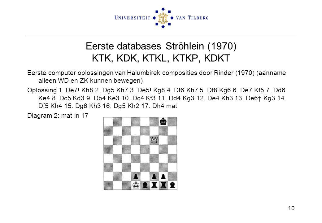 Eerste databases Ströhlein (1970) KTK, KDK, KTKL, KTKP, KDKT Eerste computer oplossingen van Halumbirek composities door Rinder (1970) (aanname alleen WD en ZK kunnen bewegen) Oplossing 1.