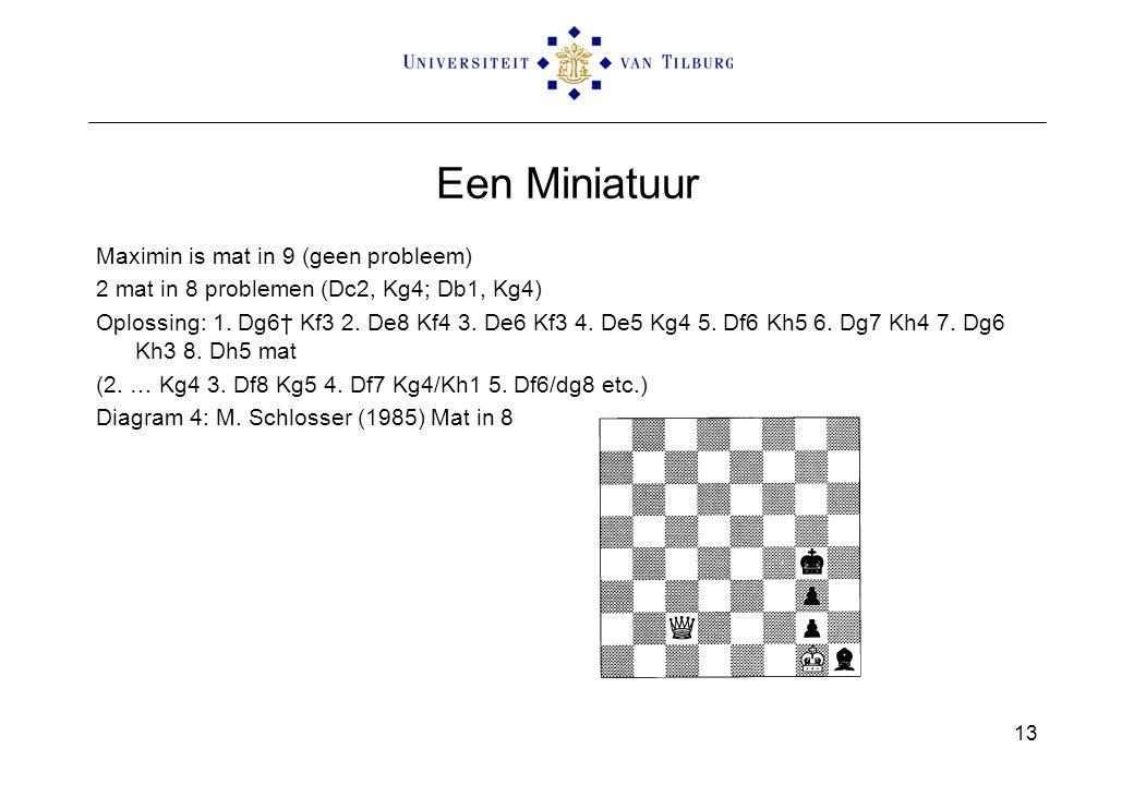 Een Miniatuur Maximin is mat in 9 (geen probleem) 2 mat in 8 problemen (Dc2, Kg4; Db1, Kg4) Oplossing: 1. Dg6† Kf3 2. De8 Kf4 3. De6 Kf3 4. De5 Kg4 5.