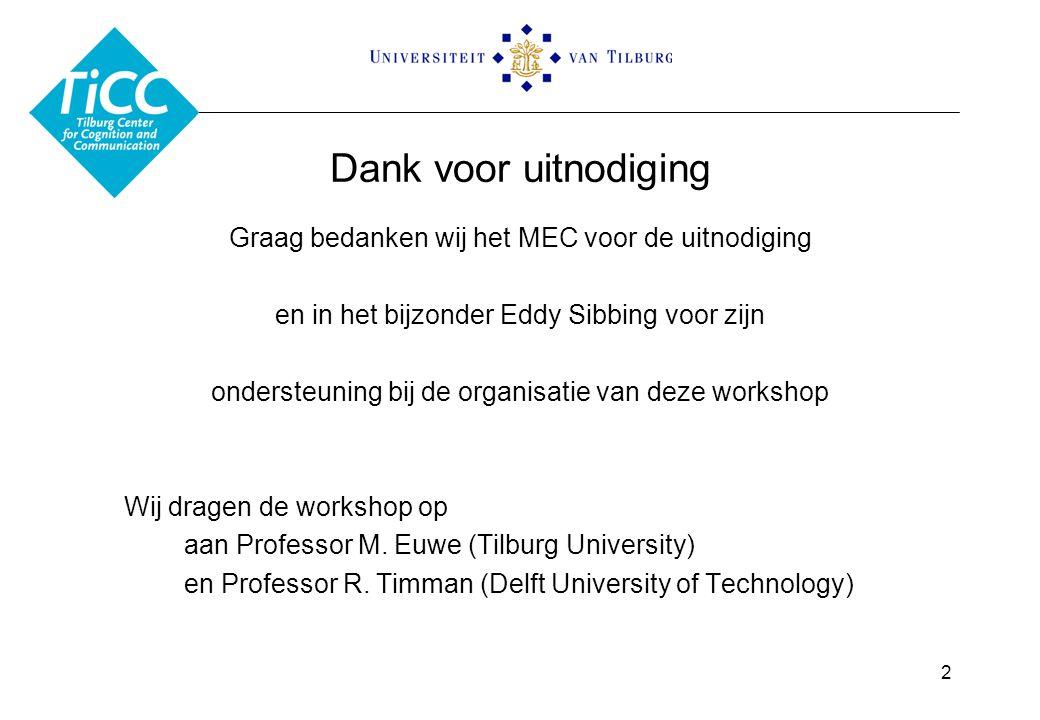 Dank voor uitnodiging Graag bedanken wij het MEC voor de uitnodiging en in het bijzonder Eddy Sibbing voor zijn ondersteuning bij de organisatie van deze workshop Wij dragen de workshop op aan Professor M.