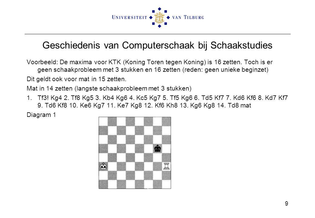 Geschiedenis van Computerschaak bij Schaakstudies Voorbeeld: De maxima voor KTK (Koning Toren tegen Koning) is 16 zetten. Toch is er geen schaakproble