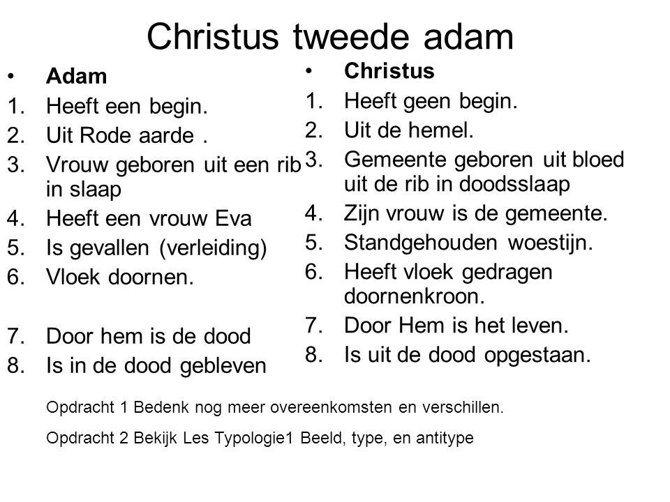 Christus tweede adam Adam 1.Heeft een begin. 2.Uit Rode aarde. 3.Vrouw geboren uit een rib in slaap 4.Heeft een vrouw Eva 5.Is gevallen (verleiding) 6