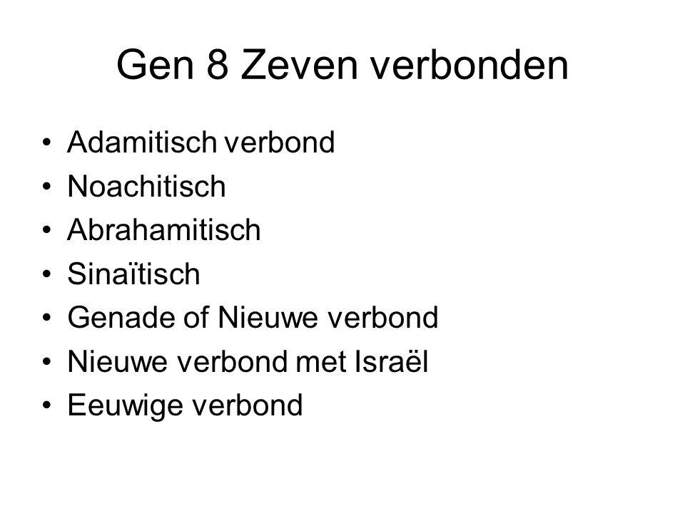 Gen 8 Zeven verbonden Adamitisch verbond Noachitisch Abrahamitisch Sinaïtisch Genade of Nieuwe verbond Nieuwe verbond met Israël Eeuwige verbond