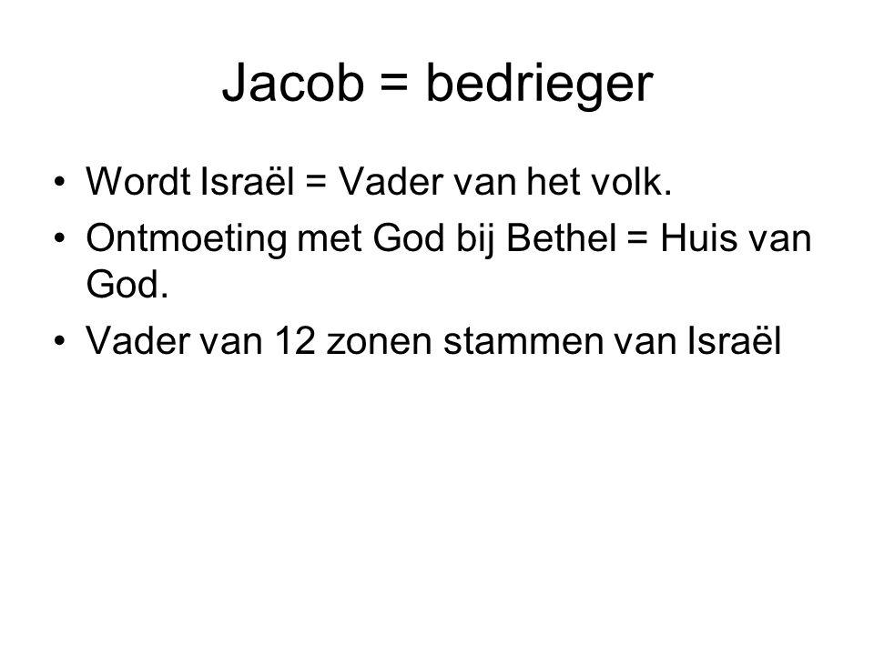 Jacob = bedrieger Wordt Israël = Vader van het volk. Ontmoeting met God bij Bethel = Huis van God. Vader van 12 zonen stammen van Israël