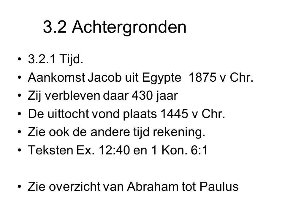 3.2 Achtergronden 3.2.1 Tijd. Aankomst Jacob uit Egypte 1875 v Chr. Zij verbleven daar 430 jaar De uittocht vond plaats 1445 v Chr. Zie ook de andere