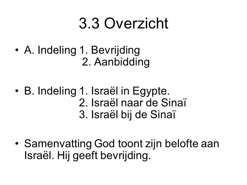 3.3 Overzicht A. Indeling 1. Bevrijding 2. Aanbidding B. Indeling 1. Israël in Egypte. 2. Israël naar de Sinaï 3. Israël bij de Sinaï Samenvatting God