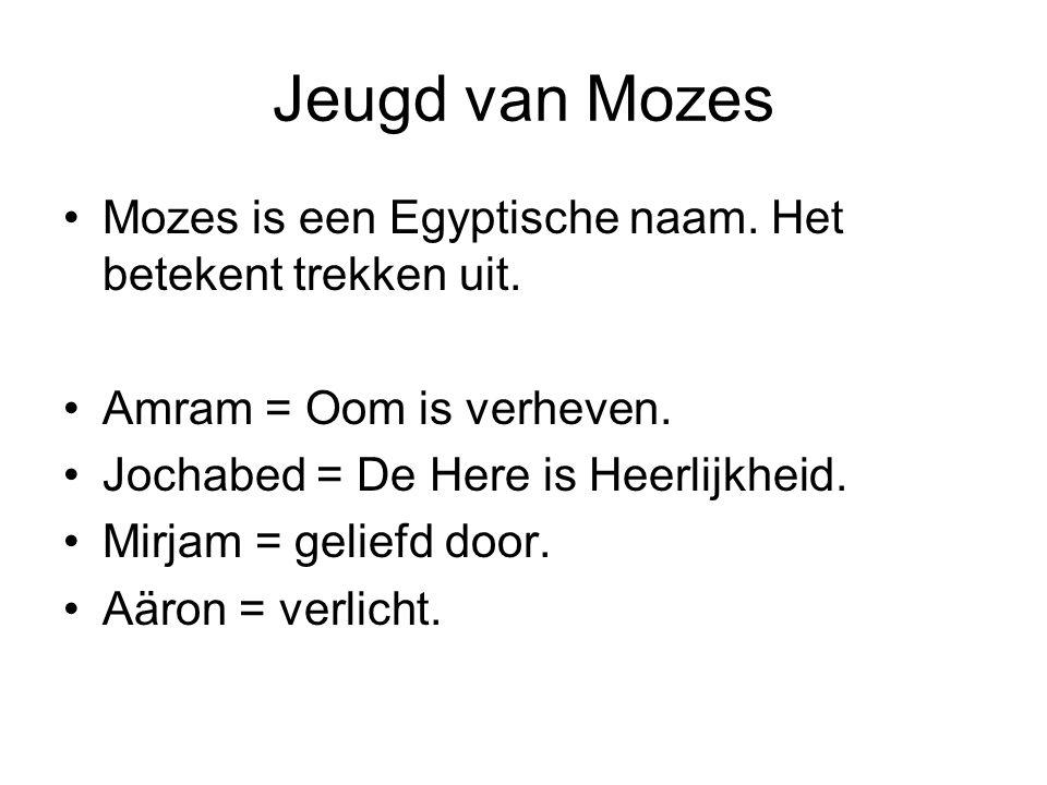 Jeugd van Mozes Mozes is een Egyptische naam. Het betekent trekken uit. Amram = Oom is verheven. Jochabed = De Here is Heerlijkheid. Mirjam = geliefd