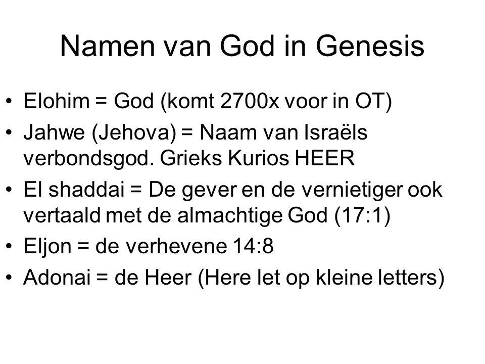Namen van God in Genesis Elohim = God (komt 2700x voor in OT) Jahwe (Jehova) = Naam van Israëls verbondsgod. Grieks Kurios HEER El shaddai = De gever