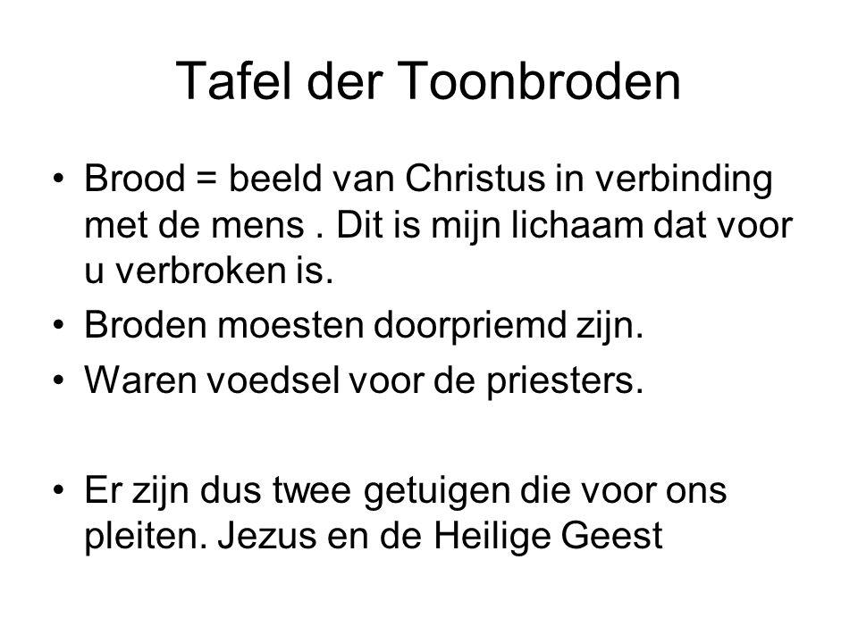 Tafel der Toonbroden Brood = beeld van Christus in verbinding met de mens. Dit is mijn lichaam dat voor u verbroken is. Broden moesten doorpriemd zijn