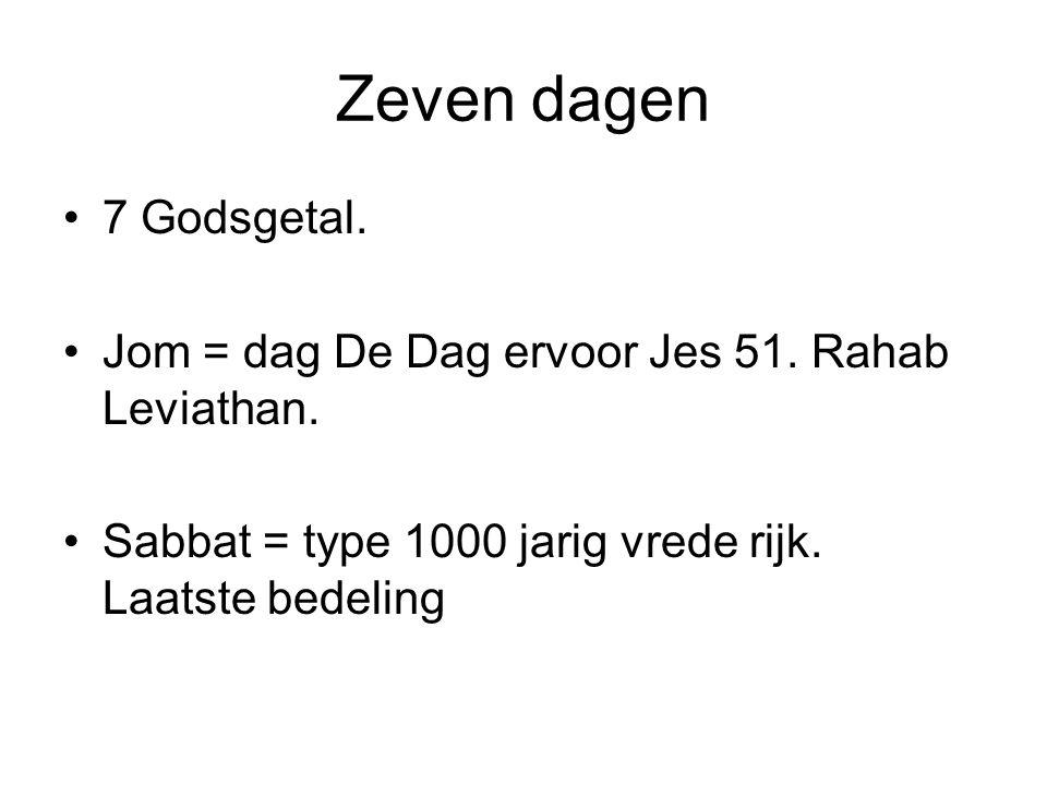 Zeven dagen 7 Godsgetal. Jom = dag De Dag ervoor Jes 51. Rahab Leviathan. Sabbat = type 1000 jarig vrede rijk. Laatste bedeling