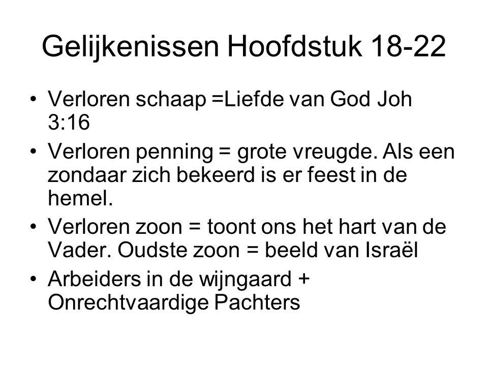 Gelijkenissen Hoofdstuk 18-22 Verloren schaap =Liefde van God Joh 3:16 Verloren penning = grote vreugde. Als een zondaar zich bekeerd is er feest in d