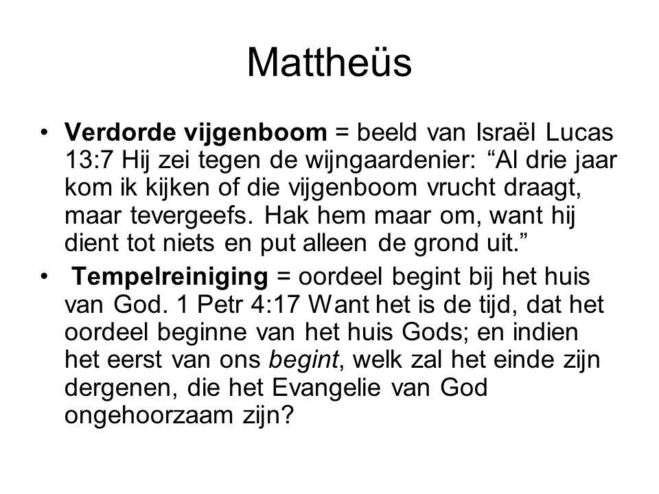 """Mattheüs Verdorde vijgenboom = beeld van Israël Lucas 13:7 Hij zei tegen de wijngaardenier: """"Al drie jaar kom ik kijken of die vijgenboom vrucht draag"""