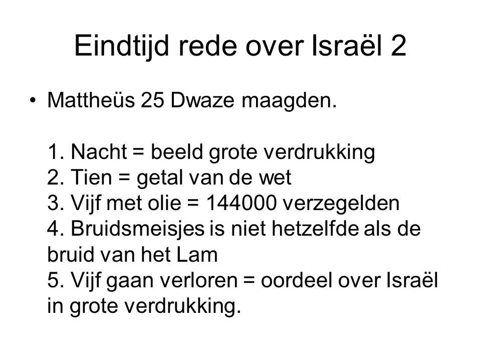 Eindtijd rede over Israël 2 Mattheüs 25 Dwaze maagden. 1. Nacht = beeld grote verdrukking 2. Tien = getal van de wet 3. Vijf met olie = 144000 verzege