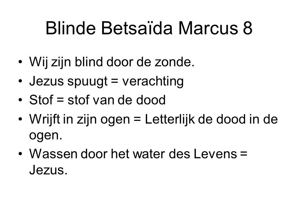 Blinde Betsaïda Marcus 8 Wij zijn blind door de zonde. Jezus spuugt = verachting Stof = stof van de dood Wrijft in zijn ogen = Letterlijk de dood in d