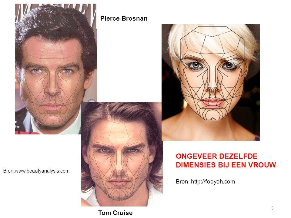 5 ONGEVEER DEZELFDE DIMENSIES BIJ EEN VROUW Bron: http://fooyoh.com Pierce Brosnan Tom Cruise Bron:www.beautyanalysis.com