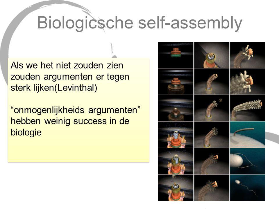 """Biologicsche self-assembly Als we het niet zouden zien zouden argumenten er tegen sterk lijken(Levinthal) """"onmogenlijkheids argumenten"""" hebben weinig"""