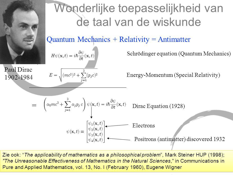 Wonderlijke toepasselijkheid van de taal van de wiskunde + Schrödinger equation (Quantum Mechanics) Energy-Momentum (Special Relativity) = Dirac Equat