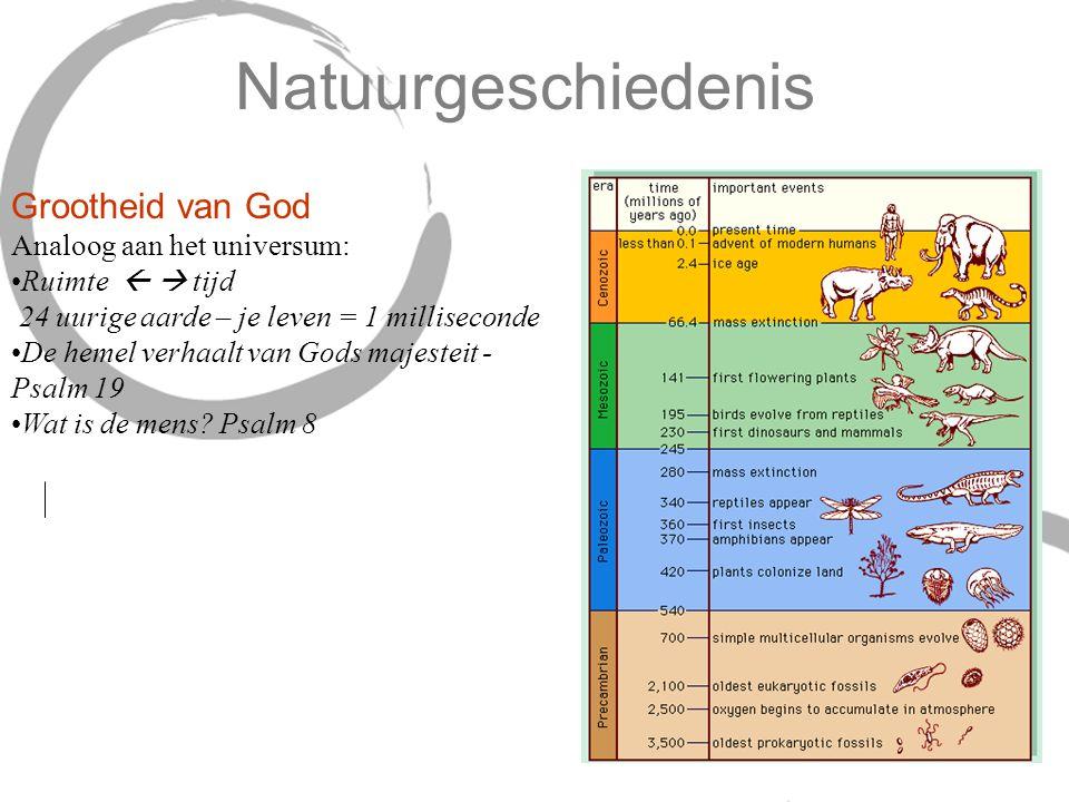 Natuurgeschiedenis Grootheid van God Analoog aan het universum: Ruimte   tijd 24 uurige aarde – je leven = 1 milliseconde De hemel verhaalt van Gods