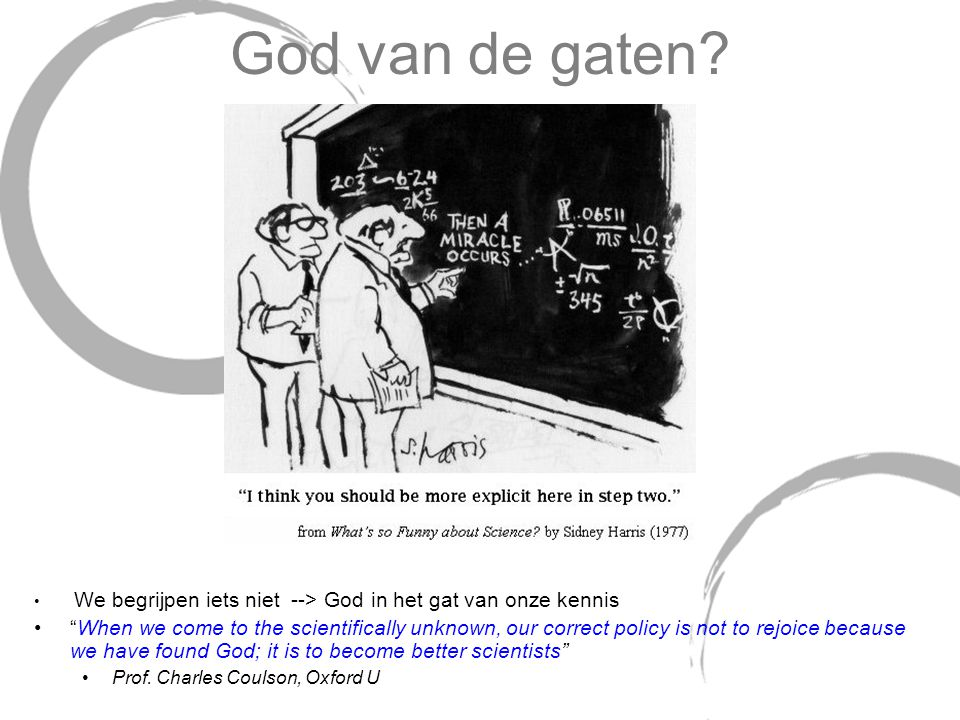 """God van de gaten? We begrijpen iets niet --> God in het gat van onze kennis """"When we come to the scientifically unknown, our correct policy is not to"""