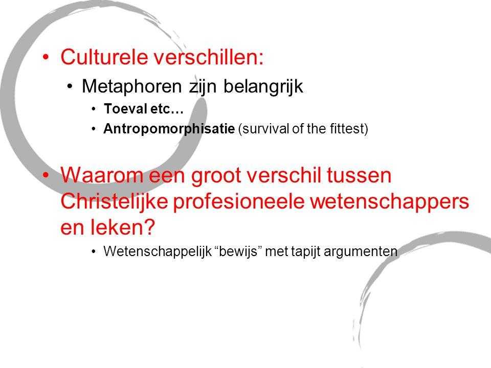 Culturele verschillen: Metaphoren zijn belangrijk Toeval etc… Antropomorphisatie (survival of the fittest) Waarom een groot verschil tussen Christelij