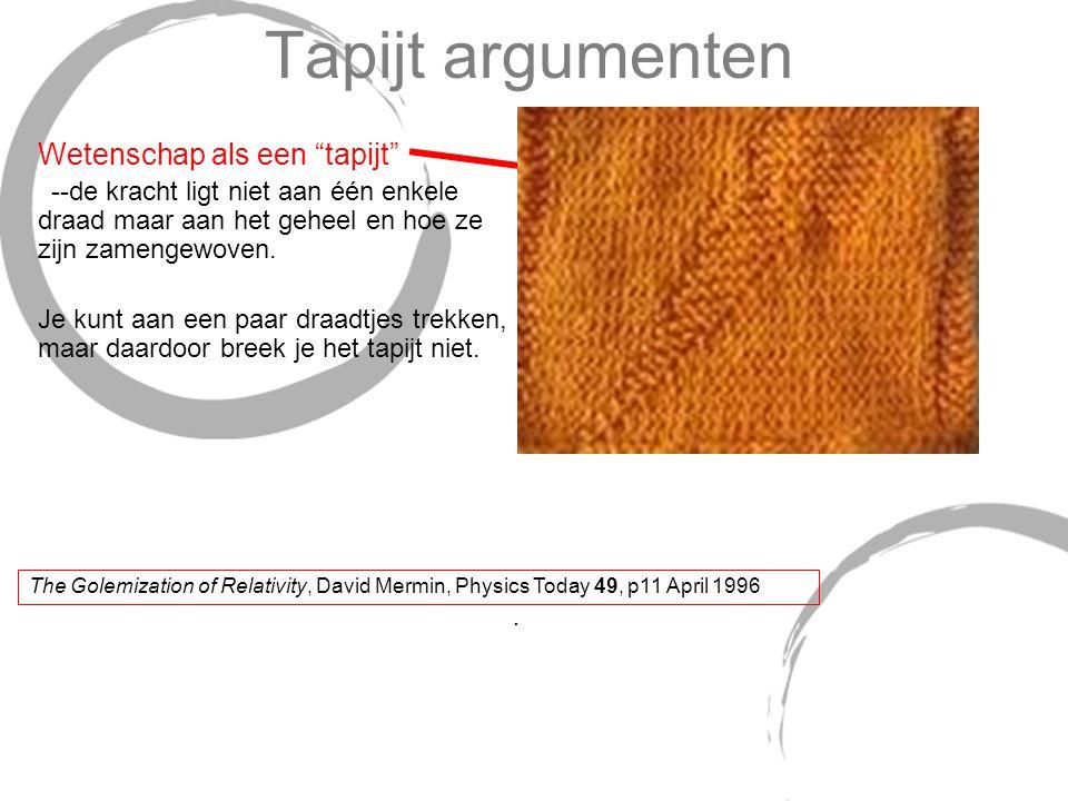 """Tapijt argumenten Wetenschap als een """"tapijt"""" --de kracht ligt niet aan één enkele draad maar aan het geheel en hoe ze zijn zamengewoven. Je kunt aan"""