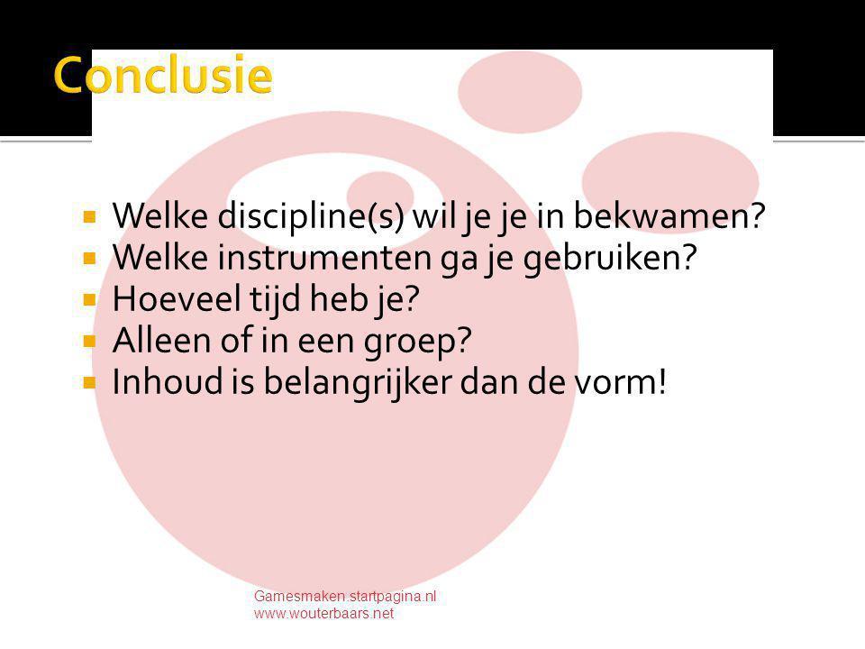  Welke discipline(s) wil je je in bekwamen.  Welke instrumenten ga je gebruiken.