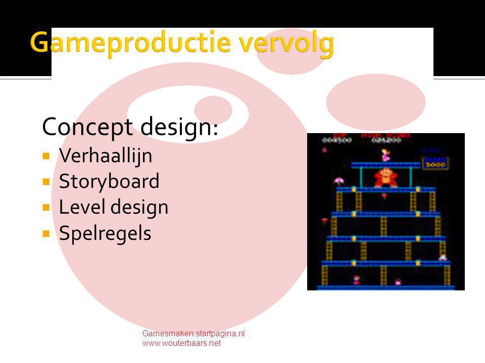 Concept design:  Verhaallijn  Storyboard  Level design  Spelregels Gamesmaken.startpagina.nl www.wouterbaars.net