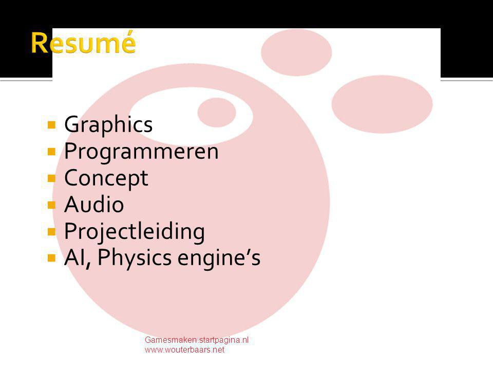  Graphics  Programmeren  Concept  Audio  Projectleiding  AI, Physics engine's Gamesmaken.startpagina.nl