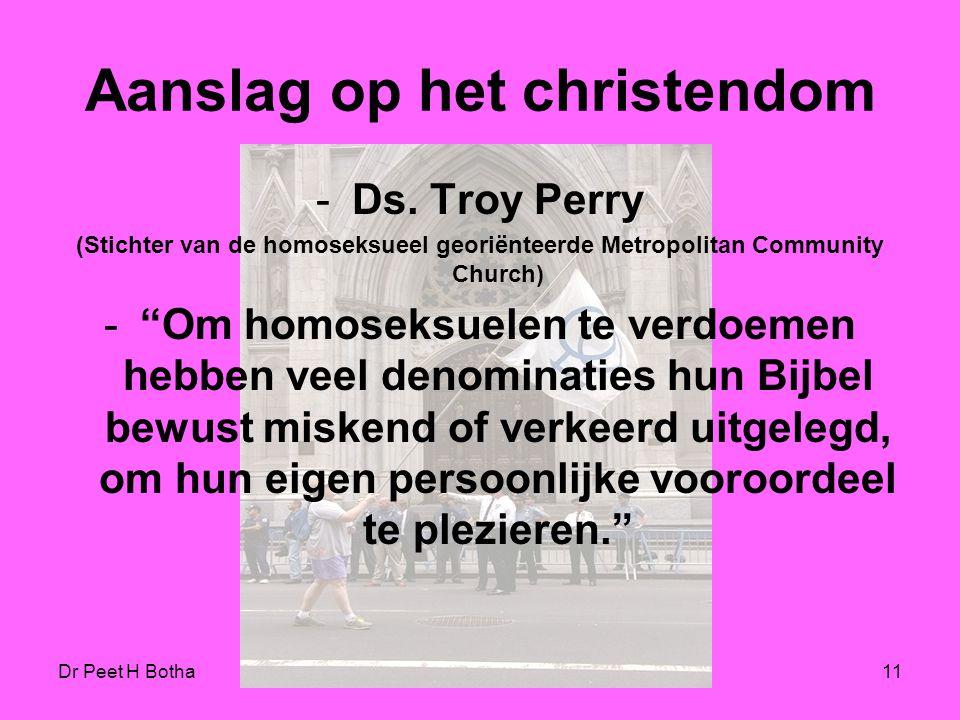 Dr Peet H Botha10 De agenda ontmaskerd De homoseksuele agenda heeft als hoogste doel om de rechten van alle andere groeperingen te overtroeven, in het