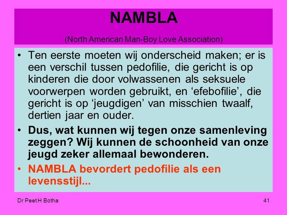 """Dr Peet H Botha40 Guide -In 1995 zei het homoseksuele tijdschrift 'Guide', """"Wij kunnen trots zijn dat de homobeweging het met enkele stemmen aangedurf"""