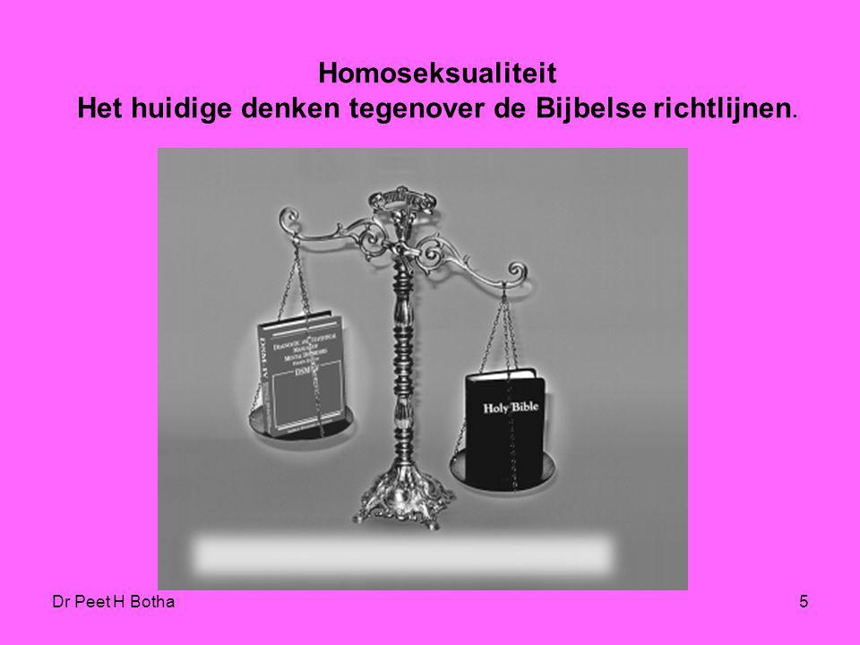 Dr Peet H Botha25 Leviticus 18:22 and 20:13 Leviticus 18:22 & 20:13 De gedeelten uit Leviticus 18:22 & 20:13 worden al snel verworpen omdat deze in verband staan met de wetten over heiligheid uit Leviticus hoofdstuk 17 tot 26, die door de komst van het Evangelie nietig verklaard zijn en omdat deze in elk geval te maken hebben met mannelijke prostitutie en afgoderij, (daarom zou dat een 'gruwel' zijn), en dat de tekst niets van doen heeft met niet homoseksueel gedrag met instemming van gelijken.