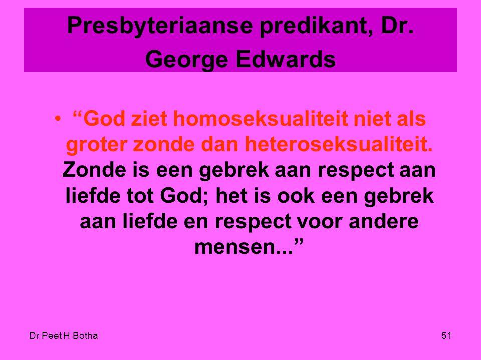 """Dr Peet H Botha50 Lutherse bisschop, Stanley Olson, (Elca) """"Natuurlijk niet. Zou God (niet?) minder goed zorgen voor minder bedeelde categorieën, een"""