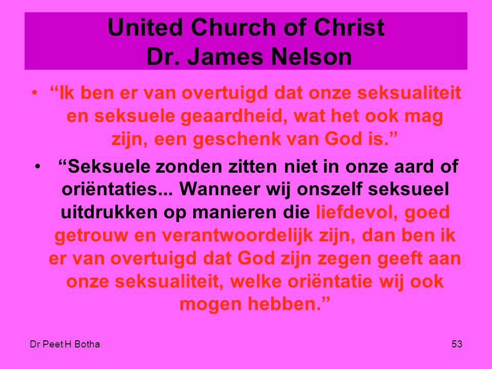 """Dr Peet H Botha52 United Church of Christ Dr. Karen Lebacqz """"Wat God echt zonde vindt, is onderdrukking, onrecht, vervolging en gebrek aan eerbied voo"""