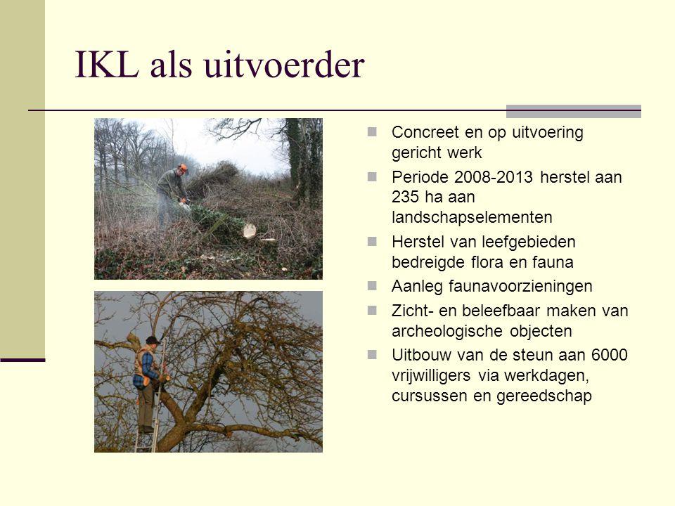 IKL als uitvoerder Concreet en op uitvoering gericht werk Periode 2008-2013 herstel aan 235 ha aan landschapselementen Herstel van leefgebieden bedrei