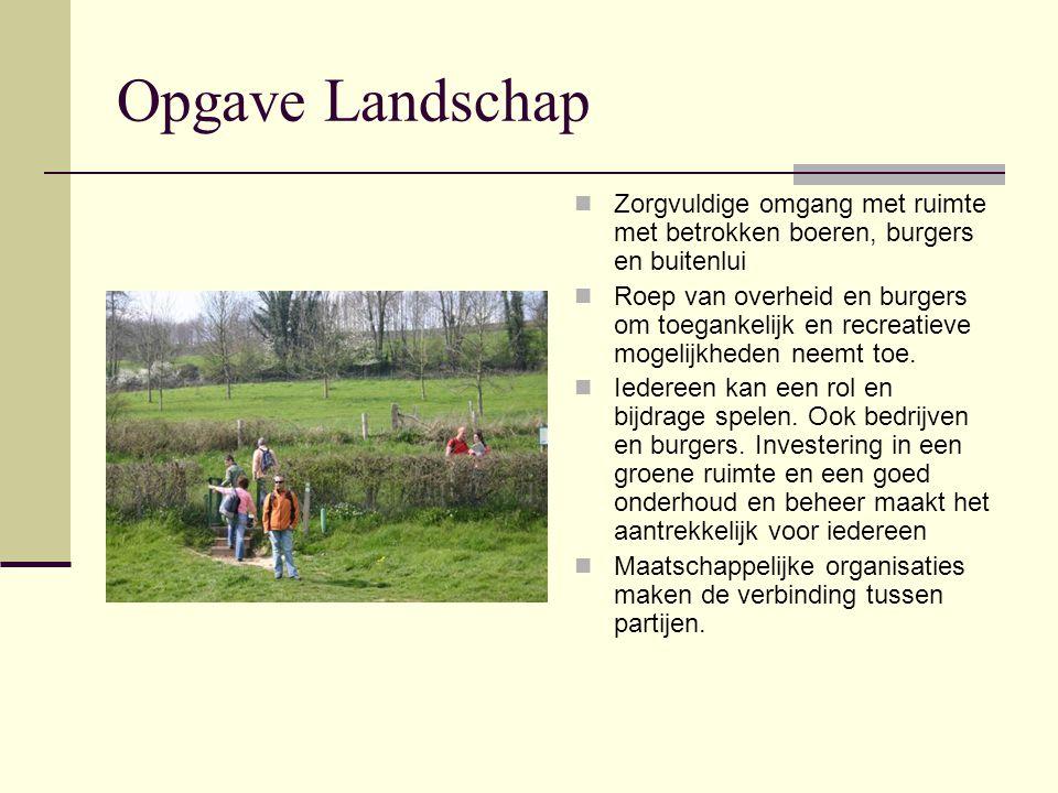 Opgave Landschap Zorgvuldige omgang met ruimte met betrokken boeren, burgers en buitenlui Roep van overheid en burgers om toegankelijk en recreatieve