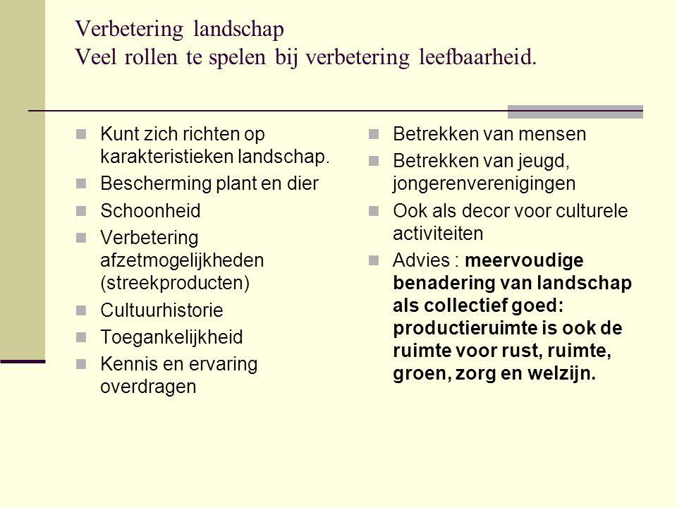 Verbetering landschap Veel rollen te spelen bij verbetering leefbaarheid. Kunt zich richten op karakteristieken landschap. Bescherming plant en dier S