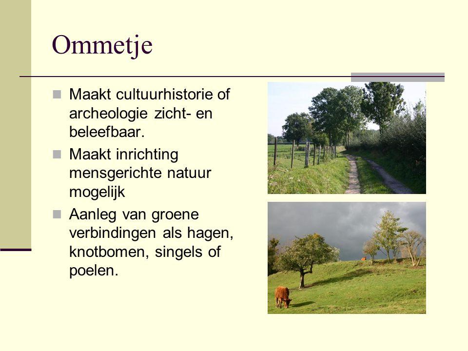 Ommetje Maakt cultuurhistorie of archeologie zicht- en beleefbaar. Maakt inrichting mensgerichte natuur mogelijk Aanleg van groene verbindingen als ha