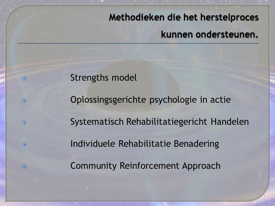  Strengths model  Oplossingsgerichte psychologie in actie  Systematisch Rehabilitatiegericht Handelen  Individuele Rehabilitatie Benadering  Comm