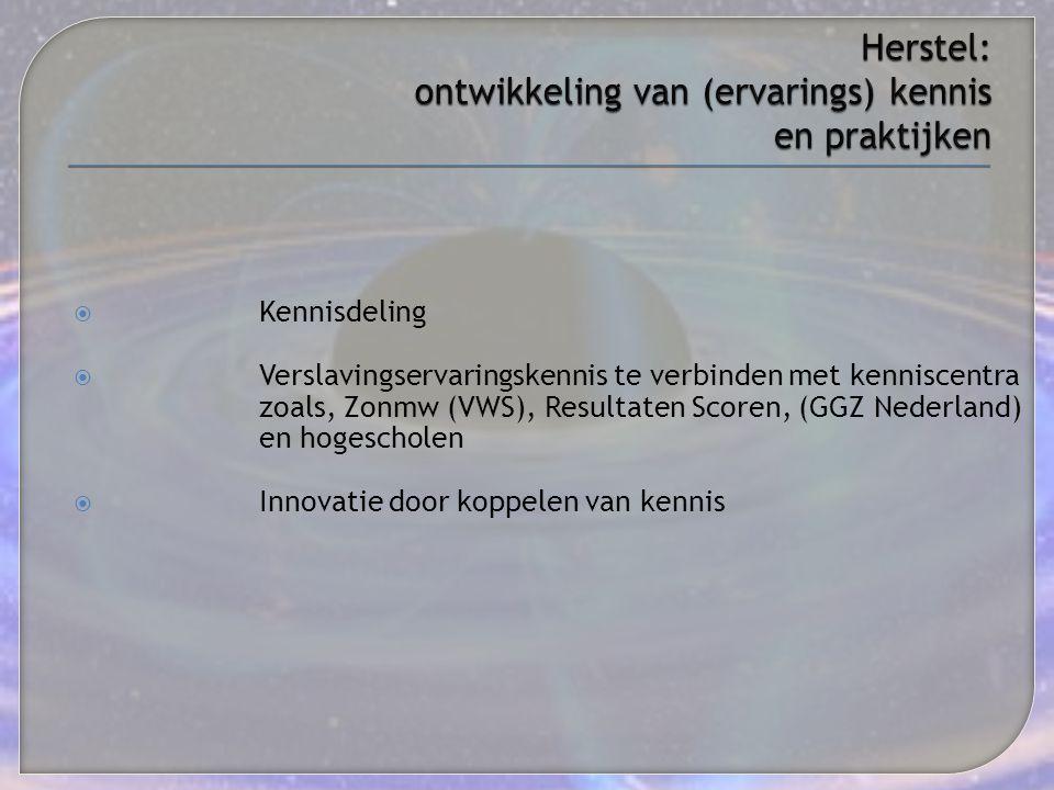  Kennisdeling  Verslavingservaringskennis te verbinden met kenniscentra zoals, Zonmw (VWS), Resultaten Scoren, (GGZ Nederland) en hogescholen  Inno