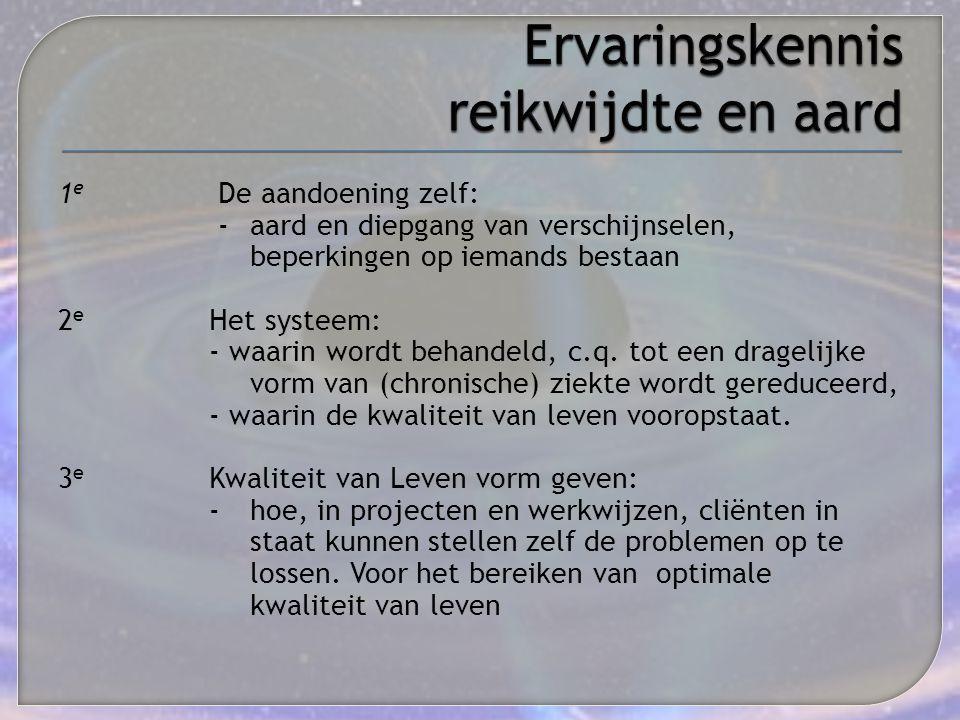 1 e De aandoening zelf: - aard en diepgang van verschijnselen, beperkingen op iemands bestaan 2 e Het systeem: - waarin wordt behandeld, c.q. tot een