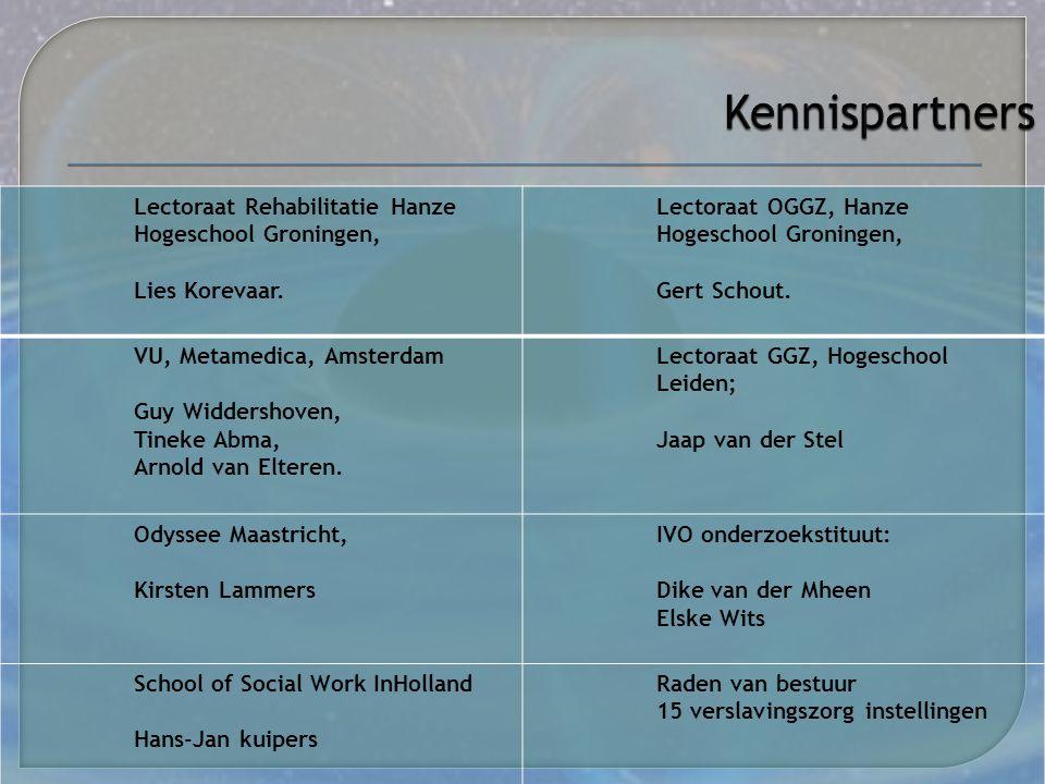  Kennisdeling  Verslavingservaringskennis te verbinden met kenniscentra zoals, Zonmw (VWS), Resultaten Scoren, (GGZ Nederland) en hogescholen  Innovatie door koppelen van kennis