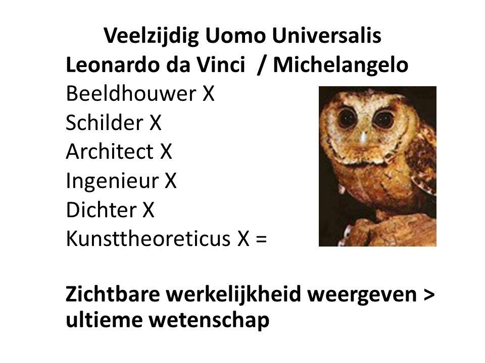 Veelzijdig Uomo Universalis Leonardo da Vinci / Michelangelo Beeldhouwer X Schilder X Architect X Ingenieur X Dichter X Kunsttheoreticus X = Zichtbare