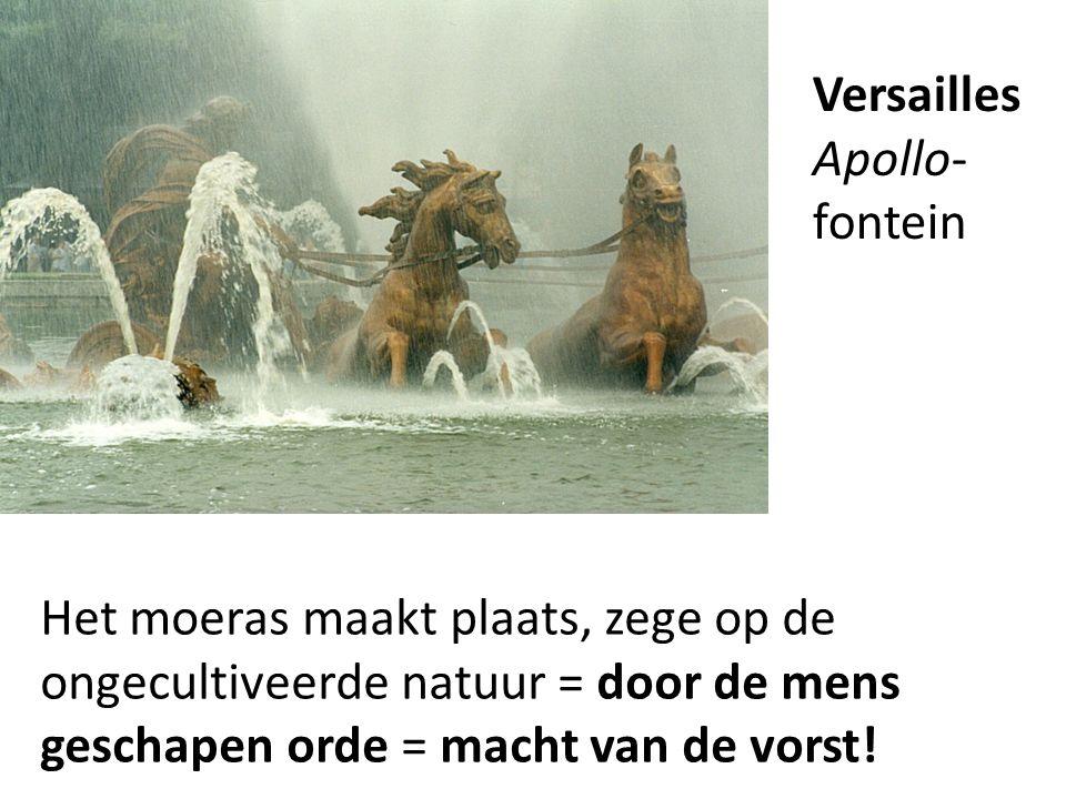 Het moeras maakt plaats, zege op de ongecultiveerde natuur = door de mens geschapen orde = macht van de vorst! Versailles Apollo- fontein