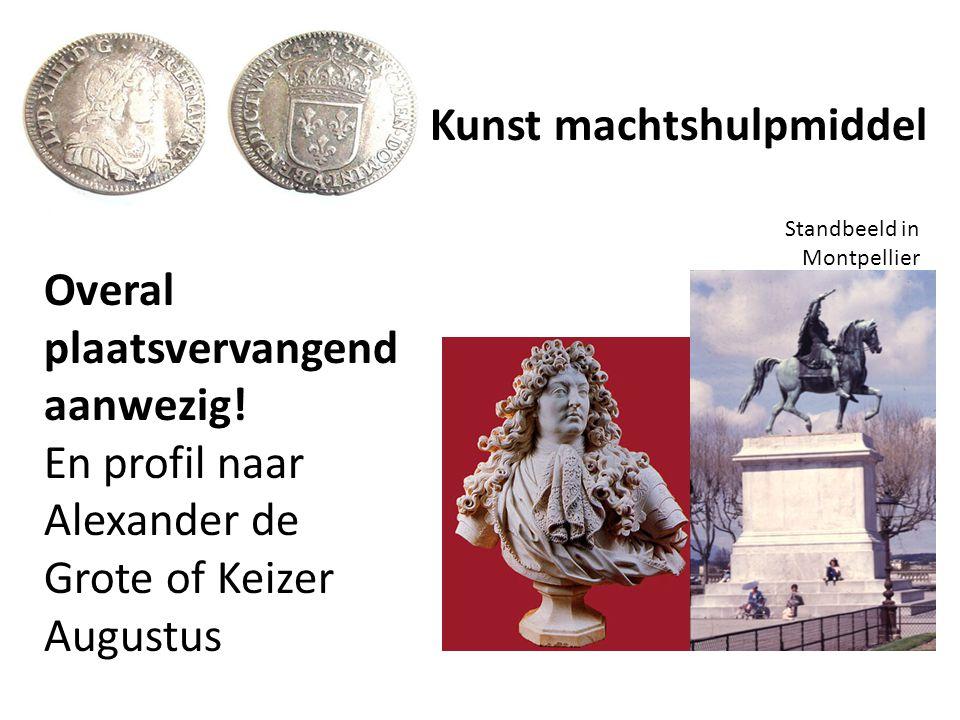Overal plaatsvervangend aanwezig! En profil naar Alexander de Grote of Keizer Augustus Standbeeld in Montpellier Kunst machtshulpmiddel