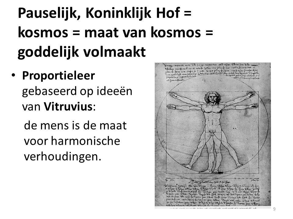9 Proportieleer gebaseerd op ideeën van Vitruvius: de mens is de maat voor harmonische verhoudingen. Pauselijk, Koninklijk Hof = kosmos = maat van kos