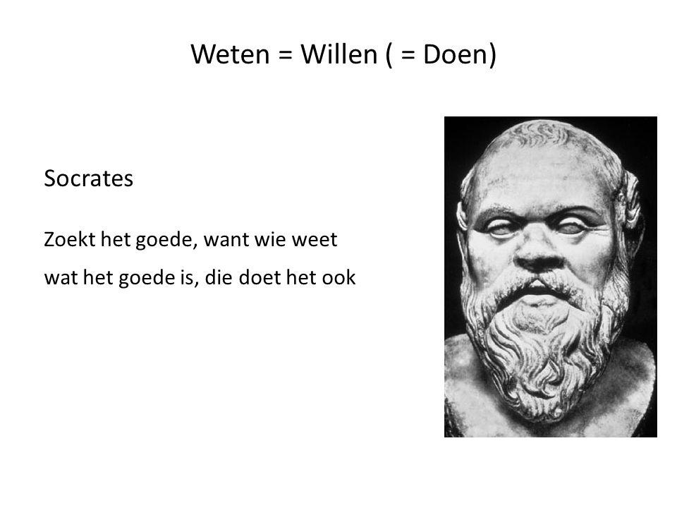 Klassieke oudheid Weten = Willen ( = Doen) Wie weet wat goed is wil (en doet) dat ook Tenzij je niet kunt door: - begeerten en passies - onwetendheid