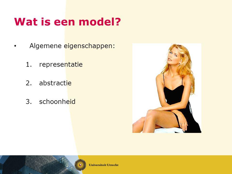 Wat is een model? Algemene eigenschappen: 1.representatie 2.abstractie 3.schoonheid