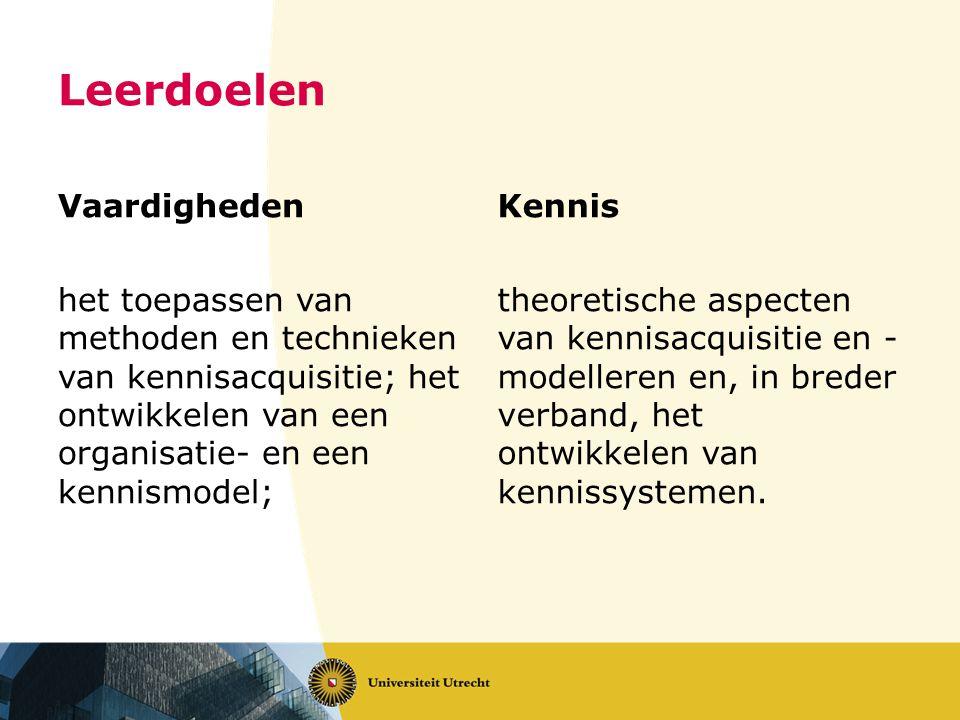 Leerdoelen Vaardigheden het toepassen van methoden en technieken van kennisacquisitie; het ontwikkelen van een organisatie- en een kennismodel; Kennis theoretische aspecten van kennisacquisitie en - modelleren en, in breder verband, het ontwikkelen van kennissystemen.