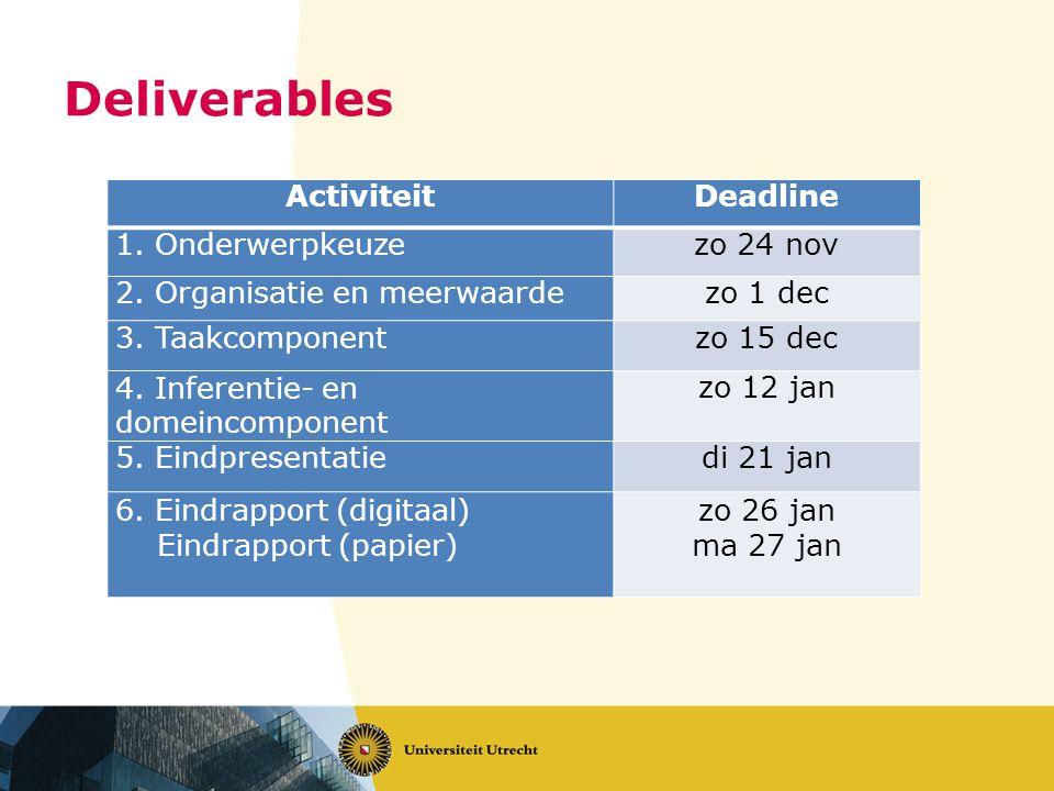 Deliverables ActiviteitDeadline 1. Onderwerpkeuzezo 24 nov 2.