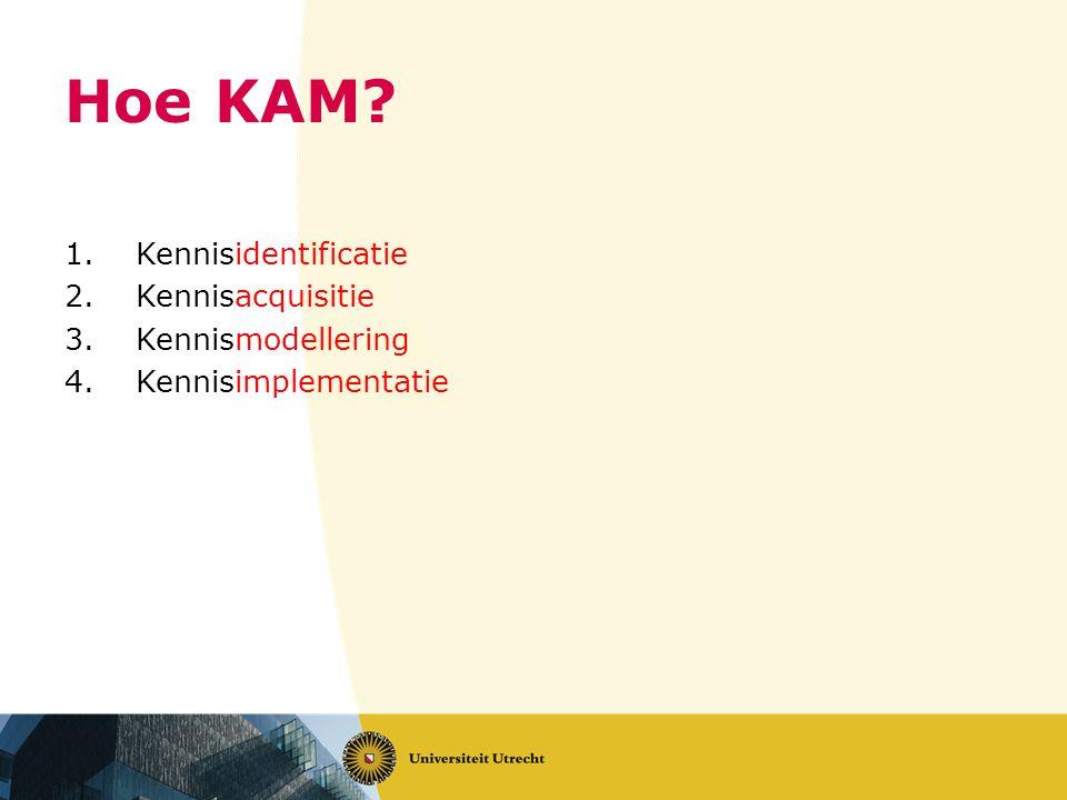 Hoe KAM? 1.Kennisidentificatie 2.Kennisacquisitie 3.Kennismodellering 4.Kennisimplementatie